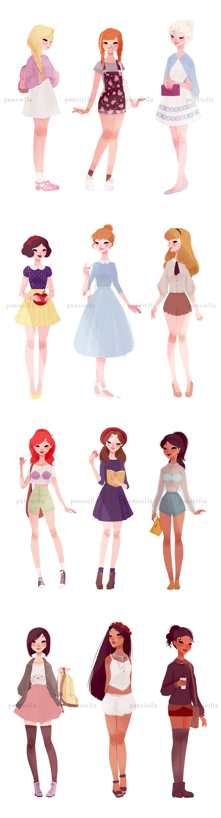 Princesses I'd wear all those outfits!.. Except for Jasmine's. It's a bit revealing.
