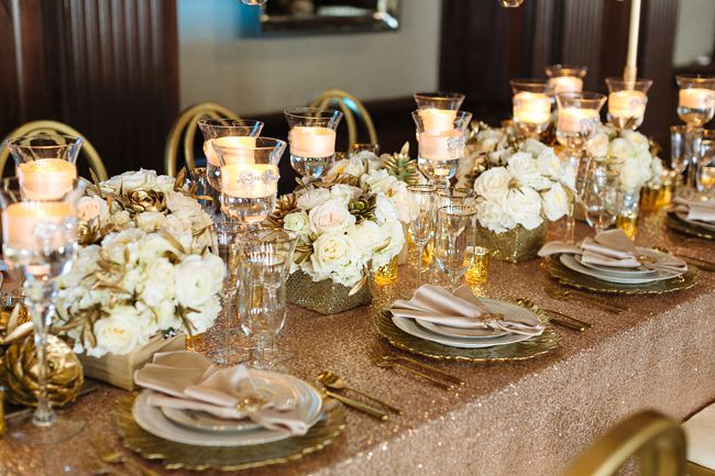 Gorgeous glam table in blush and gold with Paris Blush Sequin Linens from Napa Valley Linens - see more at http://fabyoubliss.com