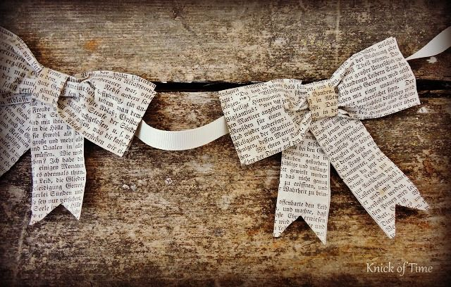 Repurposed Book Page Bows Gift Wrap Christmas Birthday by http://knickoftimeinteriors.blogspot.com/