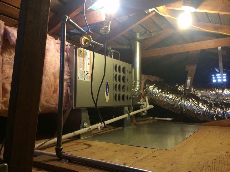 Carrier furnace, horizontal attic installation