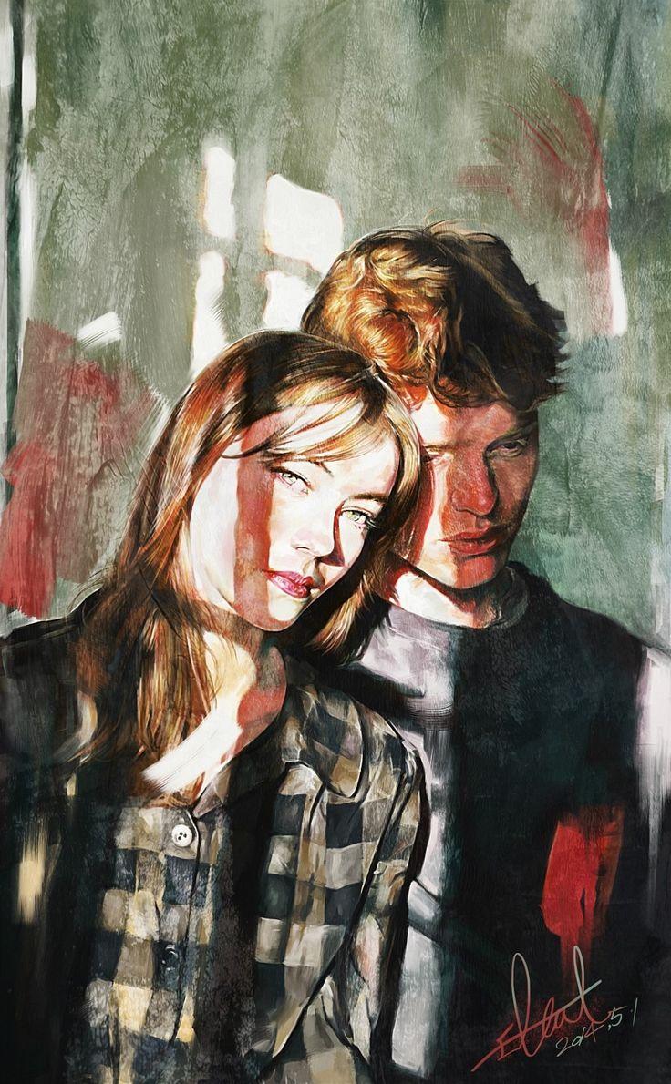 digital painting art work by @2l.cat instagram -2l.cat #portrait #painting #digitalpainting #artwork #psychedelic #illust #art #kunst #neon #glitch #couple #love
