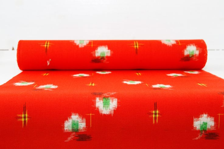 Red Kasuri Japanese Kimono Fabric Bolt by CJSTonbo on Etsy
