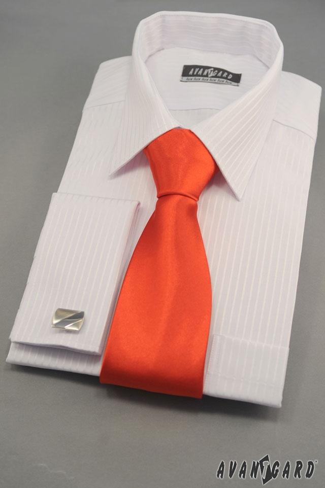 Bílá košile s jemným proužkem, manžetové knoflíky a kravata AVANTGARD