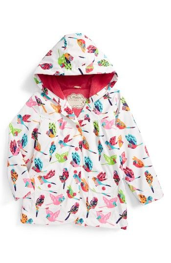 Free shipping and returns on Hatley Tropical Birds Hooded Raincoat (Toddler Girls, Little Girls & Big Girls) at Nordstrom.com. Your little songbird will be hoping for stormy weather in order to test out this waterproof raincoat lined with soft, comfy terry cloth and patterned in colorful feathered friends.