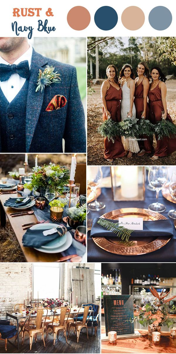Rust gold and navy blue fall wedding color inspiration
