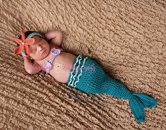Mermaid Tail, Mermaid Cocoon, Baby Girl, Headband, Shell Top, Crochet, Photography Prop, 0 to 3 Months. $45.00, via Etsy.