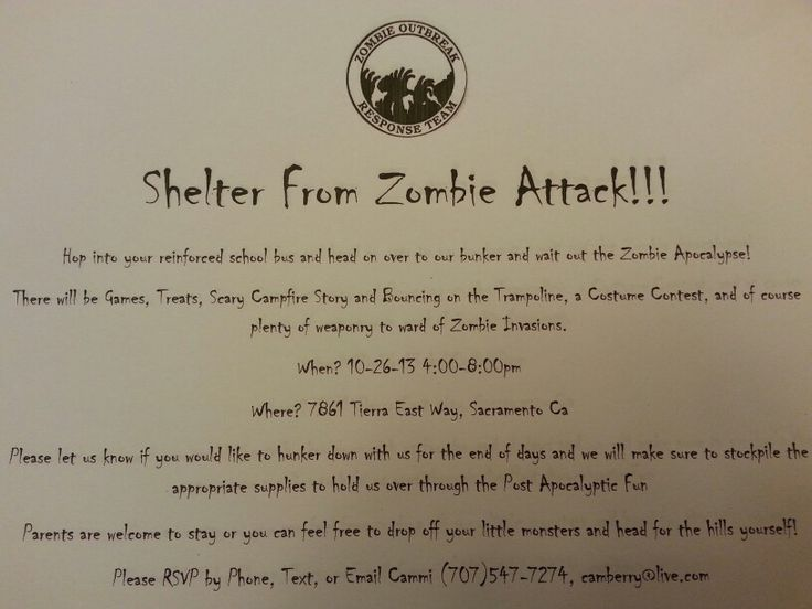 14 best Zombie Survival Party images – Zombie Party Invitations Free