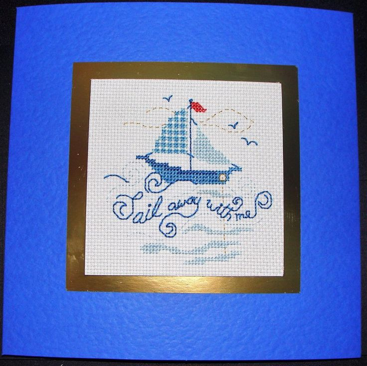 Completed Cross Stitch Extra Large Card - Sail Away With Me | eBay