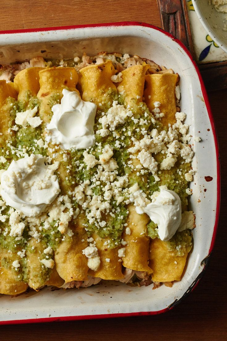 Don't let the one-hour prep time on these enchiladas scare you. Use some leftover roast chicken, or buy a roast chicken at the market on the way home, and you'll save at least 20 minutes, making the dish a terrific weeknight feed, alongside a green salad. (Photo: Melina Hammer for The New York Times)
