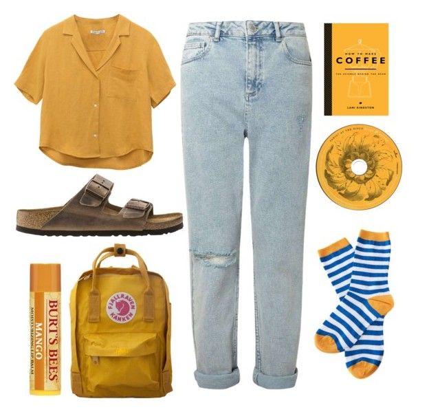 """Mango yellow"" by mariahjimenez0603 ❤ liked on Polyvore featuring Miss Selfridge, Barbour, Birkenstock, Dot & Bo and Fjällräven"