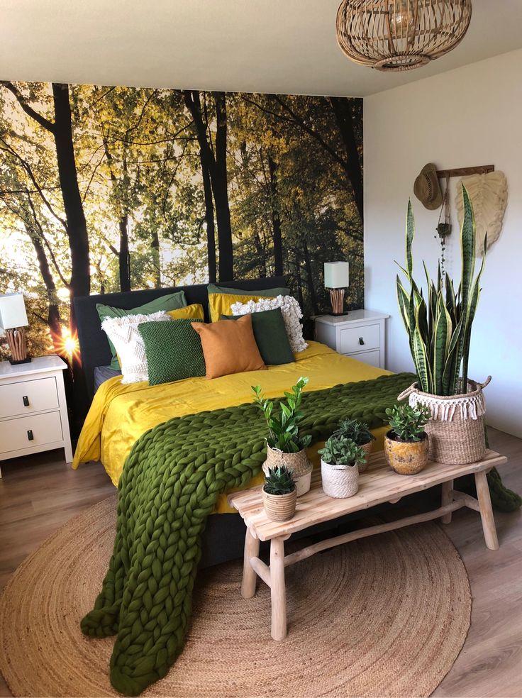 عکس استفاده از گیاهان در طراحی اتاق خواب