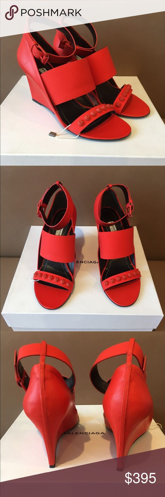 Balenciaga Orange Leather Studded Sandals 38--7.5 New , 100% authentic Balenciaga Orange leather studded wedge sandals . Size 38 . Should fit 7.5 or 8 US ! No issues . Come with an original box but a dust bag is missing . Amazing shoes ! Retail -$995 plus tax . Sorry , no trading -:(. Thanks ! Balenciaga Shoes Wedges
