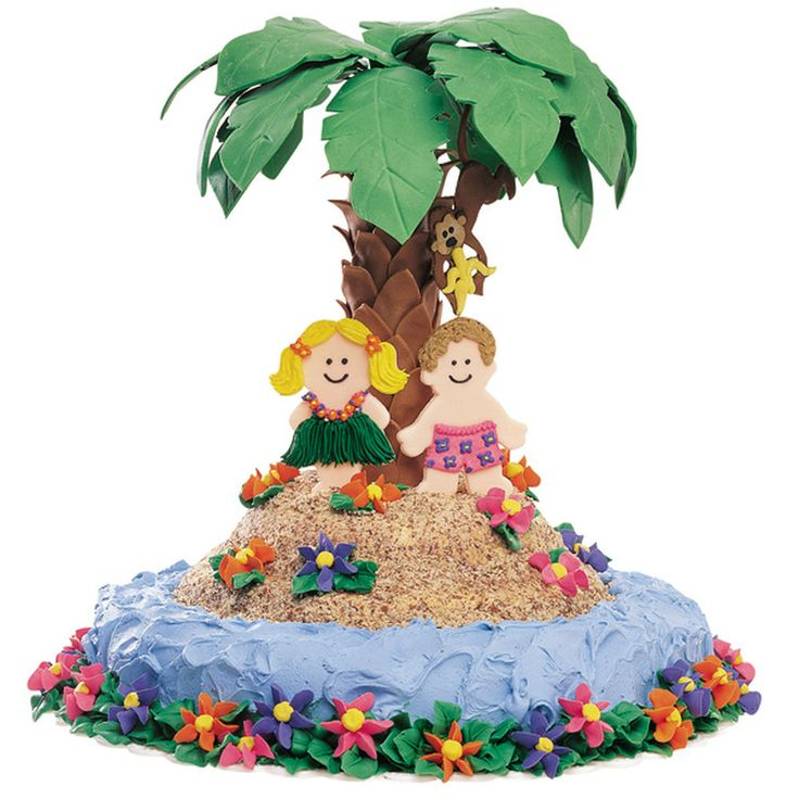 Life is good when you?re marooned on an edible island with a fondant monkey. Build this tropical retreat using two Round Pan cakes and Tall Tier Stand Set components.