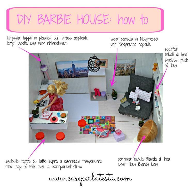 DIY Barbie home from a shoebox * casa di Barbie fai da te in una scatola di cartone