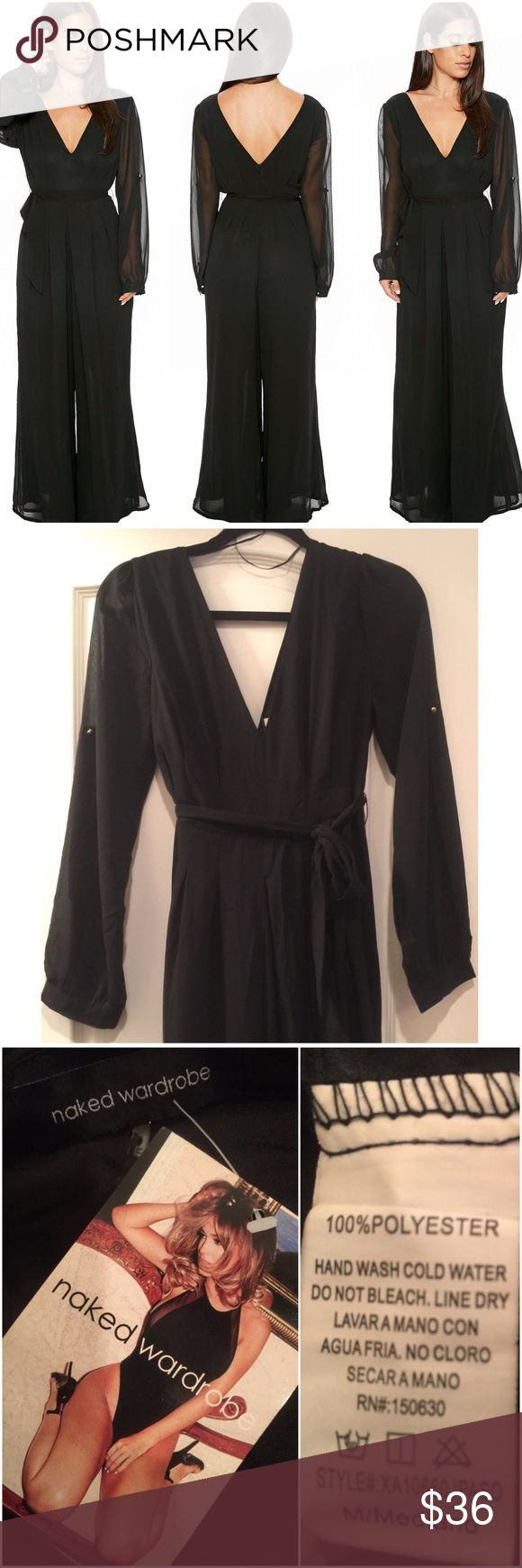 NAKED WARDROBE The One & Only Jumpsuit. NWT. NAKED WARDROBE The One & Only Jumpsuit. Color: Black. Size MEDIUM. 100% Polyester. V Neckline. Features Double lining from top to bottom. Brand NEW with TAGS!! Naked Wardrobe Pants Jumpsuits & Rompers