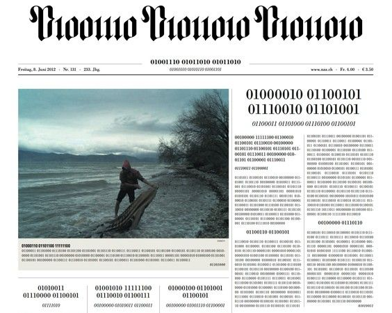 Gives the world Go Digital its original meaning backSwiss, Digital Newspaper, Nzz Visual, Nzz 9 6 2012, Prints Front, 01010111 01010100, Binary Newspaper, 01010100 01000110, 01000110 00111111
