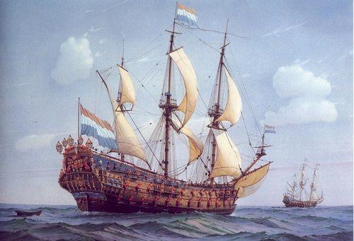 Dit was het ship van michiel zelf. Het heet de zeven provincien, en is een heel groot schip met vele kannonnen.