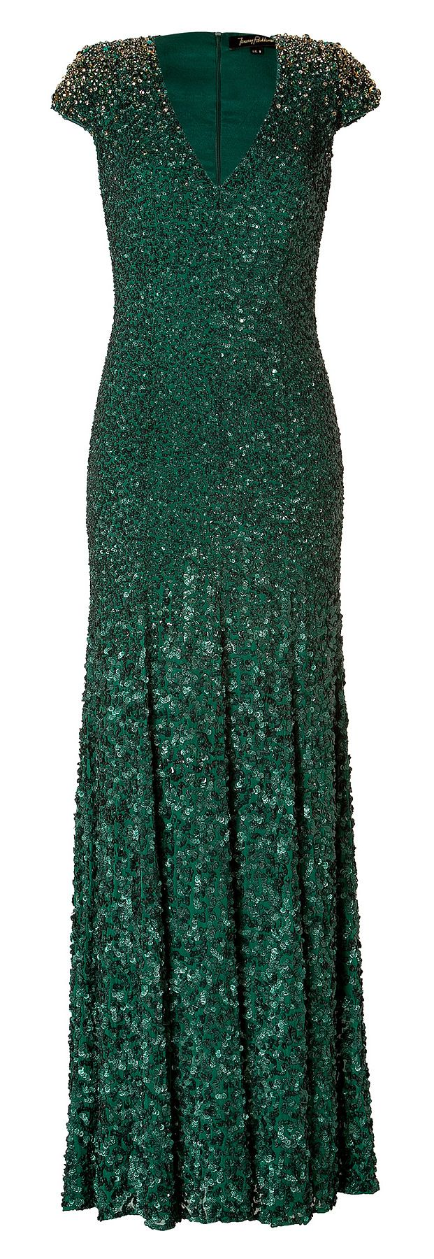 Jenny Packham Emerald Green Silk Sequined Gown