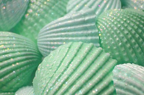 Sparkly green seashells.