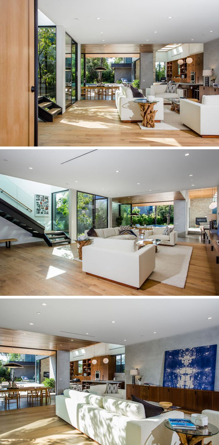 The floor plan of this Californian home is open, with the dining, living room, kitchen and library, all sharing the space.