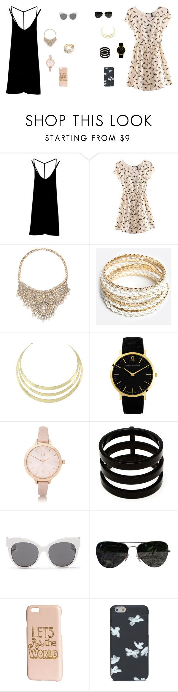 """Beige and black"" by nattavr on Polyvore featuring moda, RVCA, Bebe, ZooShoo, Larsson & Jennings, River Island, Repossi, Blanc & Eclare, Ray-Ban y H&M"