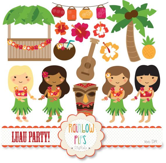 Luau Party Digital Clipart Set