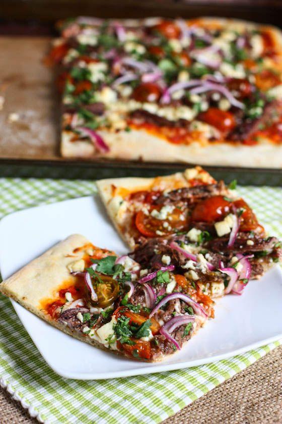 Steak, Gorgonzola and Cherry Tomato Pizza