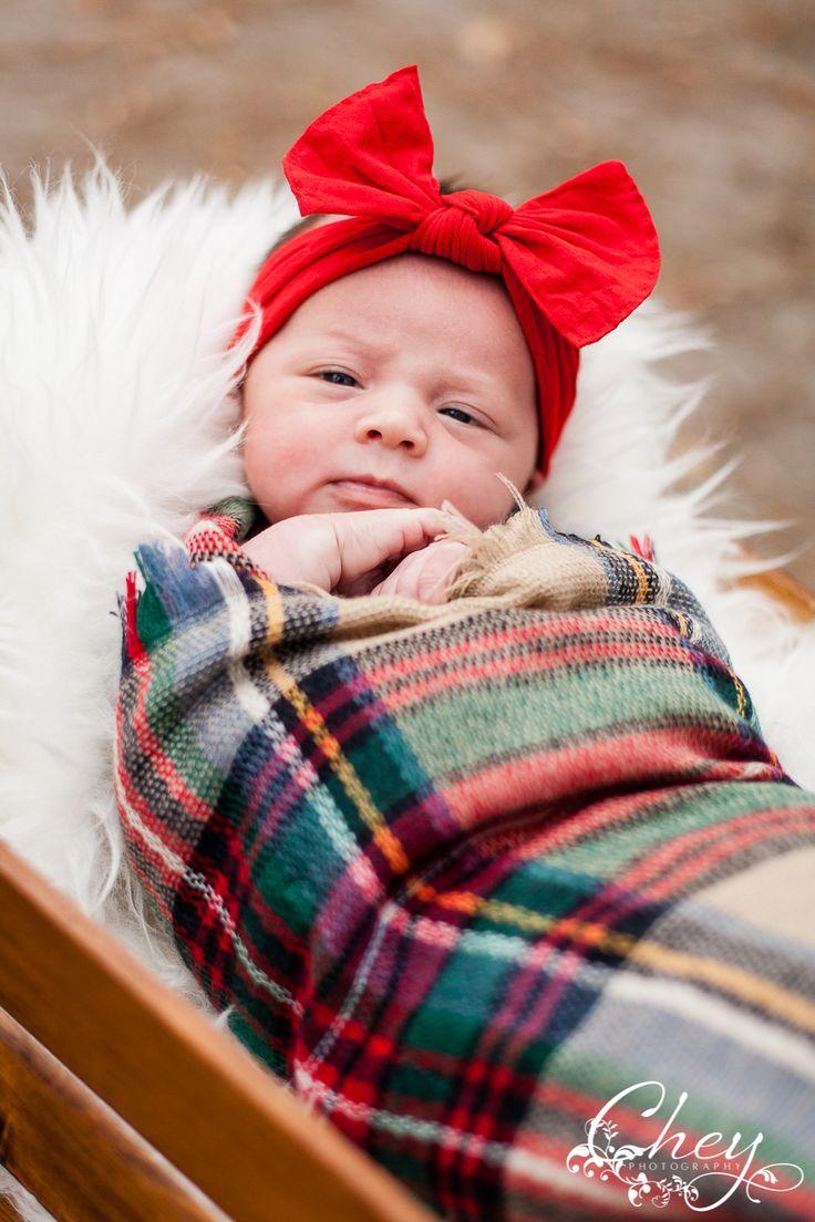 newborn, Christmas scarf, swaddle, basket, red head band | www.cheyphotography.com