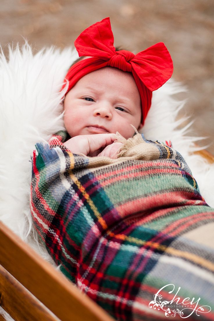 newborn, Christmas scarf, swaddle, basket, red head band | www.cheyphotography.com
