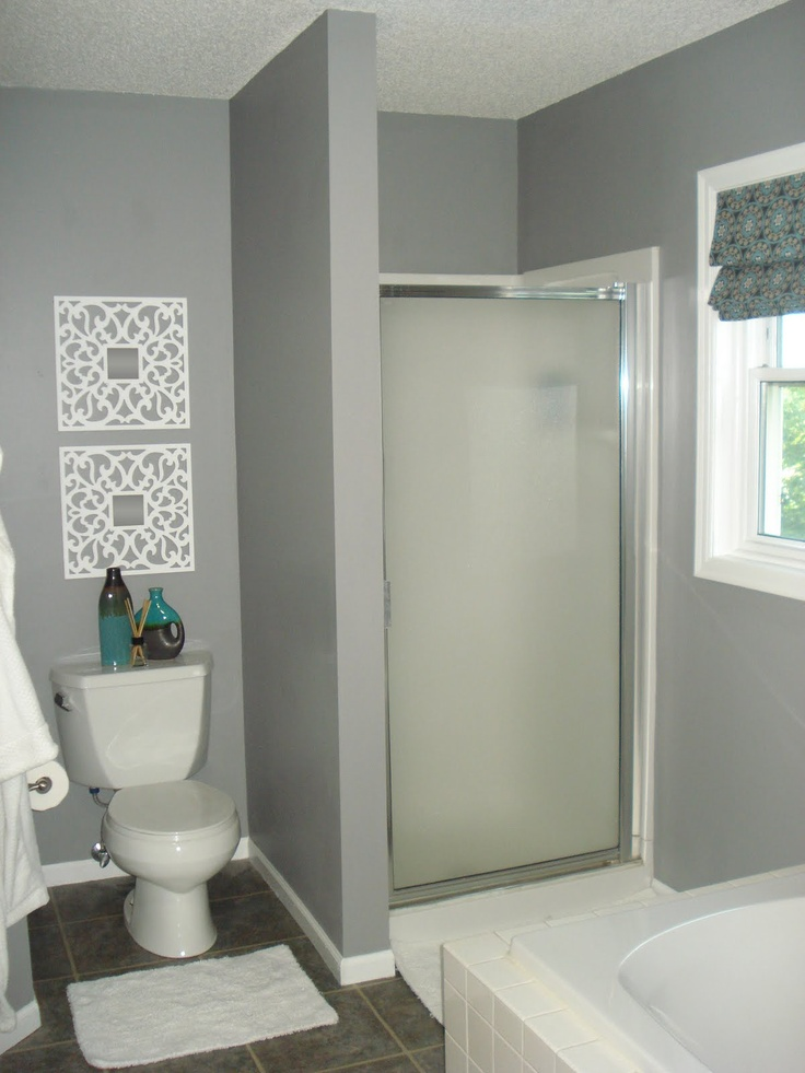 Glidden granite gray home sweet home pinterest for Gray and turquoise bathroom