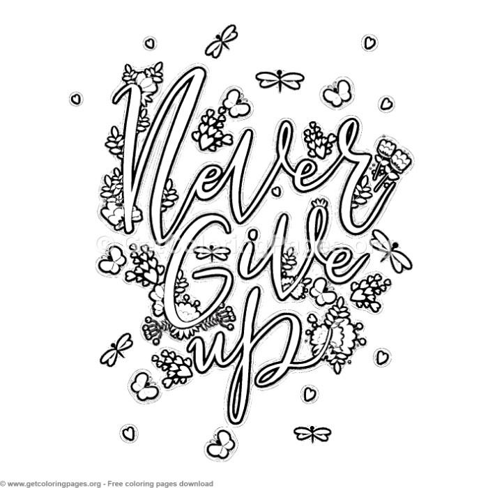 Never Give Up Coloring Pages Free Instant Download Coloring Coloringbook Coloringpages Inspirational Quote Coloring Pages Abc Coloring Pages Coloring Pages
