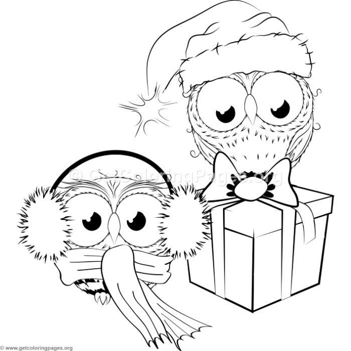 Printable Christmas Owl Coloring Pages Portraits