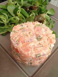 Voici une recette de Cyril Lignac que j'adore !! Cela fait des années que je la fait . Evidement il faut aimer le poisson cru, moi j'adore, en plus le citron cuit le poisson. pour 2 pers 6 pp / pers (weight watchers) -50 g de saumon fumé - 150 g de saumon...