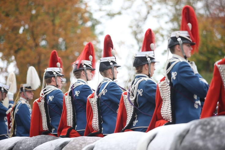 Trumpeters getting ready to escort her Majesty the Queen and the President of Slovakia. Fredensborg, Denmark. Oct. 23. 2012.