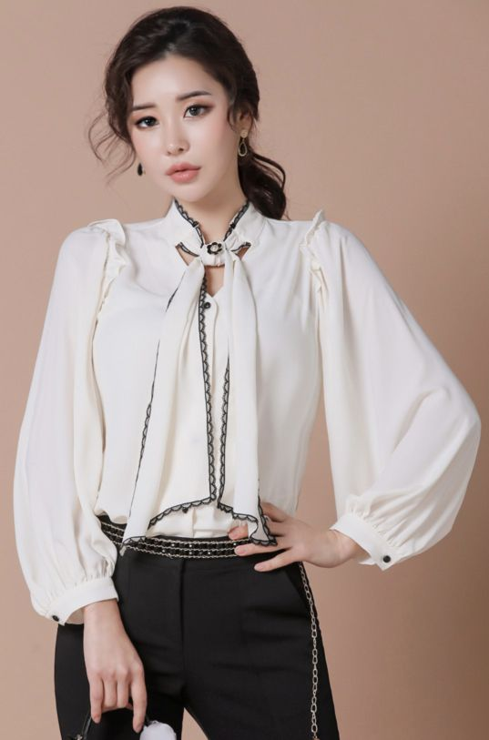 StyleOnme_Lace Trim Ribbon Neck Tie Blouse #ivory #lace #ribbon #blouse #koreanfashion #kstyle #kfashion #feminine #seoul