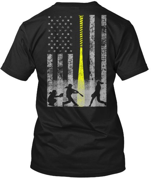 Limited Edition Softball Flag Black T-Shirt Back