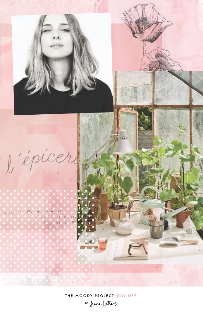 The Moody Project: Day 7 — June Letters Blog. Soft pink, watercolor textures, lovely greenhouse, flower drawings, french script, polka dots. Free People inspired mood board