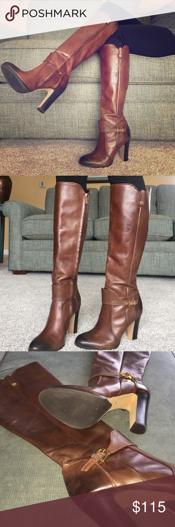 "Vince Camuto ""Cassia"" Women's Brown Dress Boots Worn only once! Beautiful brown dress boots perfect for dressing up a casual outfit or paired with a sweater dress for the office. Chic 4"" heel with pointed toe. Rubber sole and genuine leather. Gold buckles and inside zipper. Vince Camuto Shoes Heeled Boots"