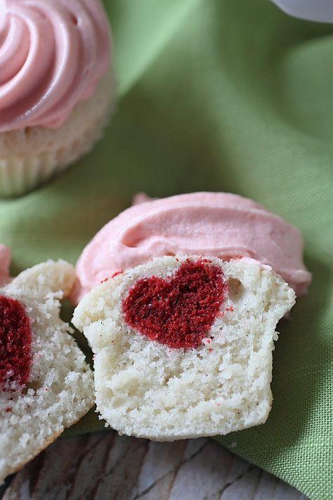 Vanilla Bean Heart Inside Mini Cupcakes {mind-over-batter.com}