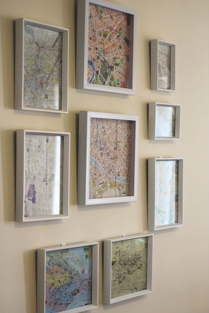Mapas de lugares que se visitou é uma boa ideia de tema para a parede.