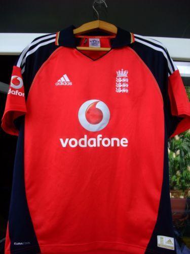 England Cricket Shirt Jersey Adidas Vodafone 3 Lions Red Adult Medium Trikot