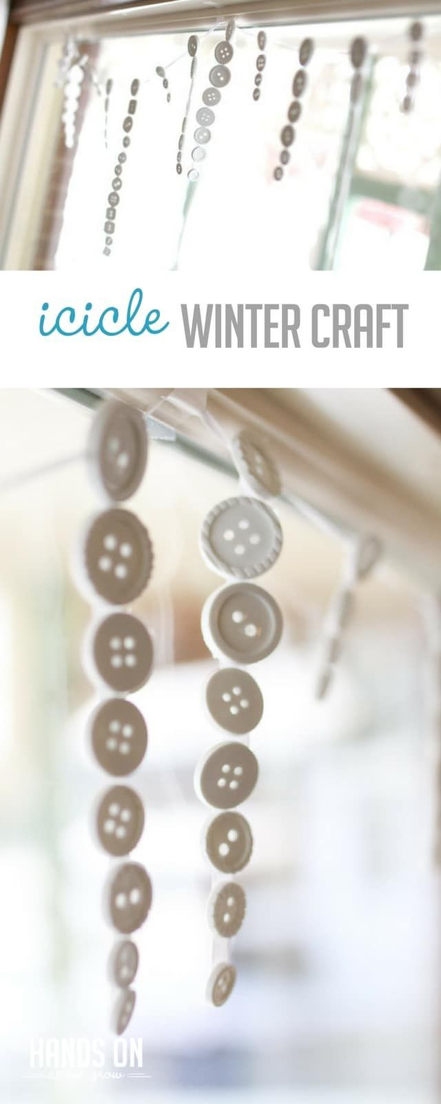 Cute icicle craft for the kids to make during the winter via @handsonaswegrow