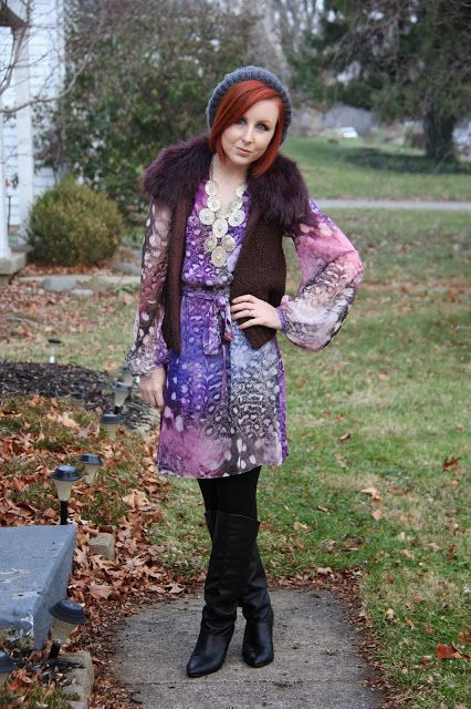Thrift and Shout: Cute Outfit of the Day: Erin Fetherston Dress Styled, Ann Taylor vest, boho chic