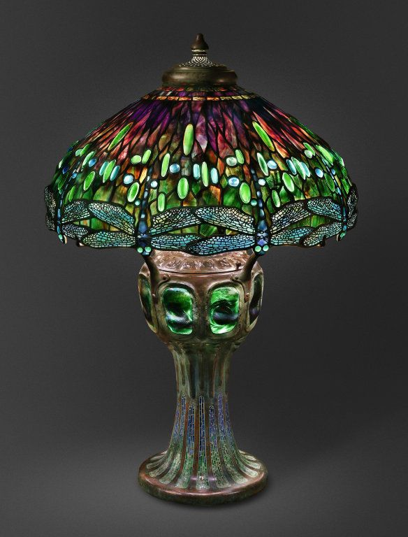 artmastered: Tiffany & Co., designed by Clara Pierce Wolcott Driscoll, Hanging Head Dragonfly Shade on Mosaic and Turtleback Base, c.1906, Favrile glass and bronze, 86.4 x 57.2 cm, The Art Institute of Chicago. Source This beautiful, dragonfly-inspired lamp was included in the winter 2009/10 exhibition 'Apostles of Beauty: Arts and Crafts from Britain to Chicago' at the Art Institute of Chicago