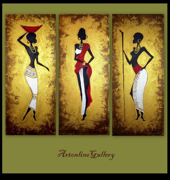 Original Painting African Women  Triptych  by ArtonlineGallery, $230.00