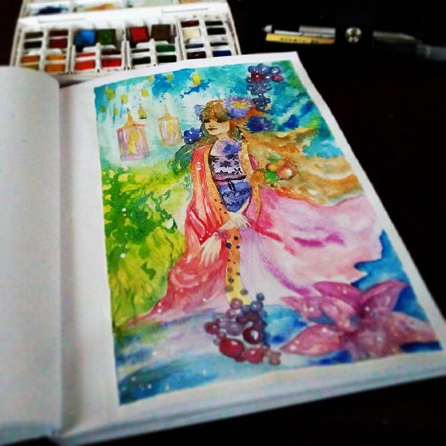 #sketch #watercolour #painting #speedpainting #drawingmanga #anime #bookillustration #illustration #manga #fairy #children #garden #flowers