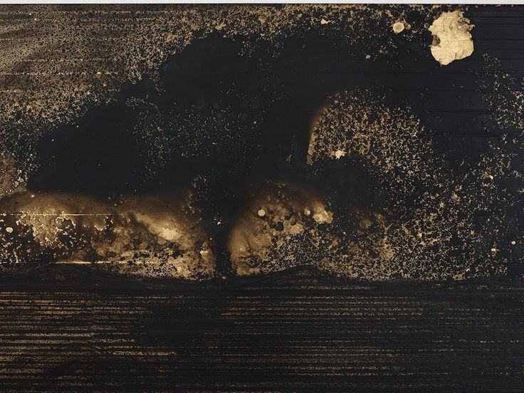 Teresita Fernández, Golden (Scroll 3), 2014 (gold chroming and India ink on wood panel, 50.8 x 203.2 cm) © Teresita Fernández - All rights reserved, courtesy of the Artist and Almine Rech Gallery
