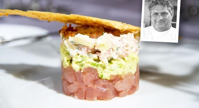 Tartaar van tonijn met avocado en Hollandse garnalen en sesamkoekjes - Navenant Kookt !