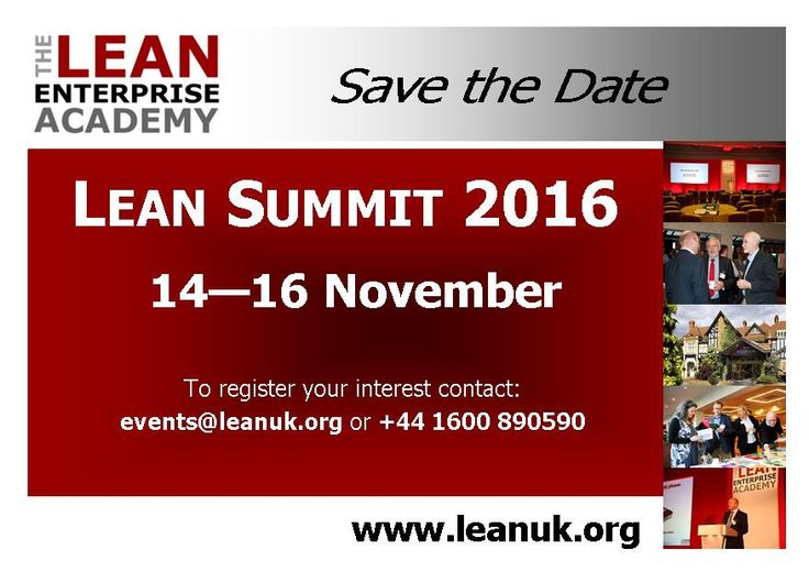 Lean Summit 2016 - Lean Transformations 14th - 16th November 2016
