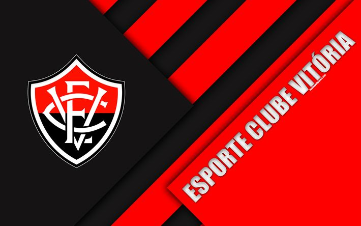 Download wallpapers Esporte Clube Vitoria, Salvador, Bahia, Brazil, 4k, material design, black and red abstraction, Brazilian football club, Serie A, football Vitoria FC
